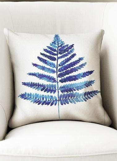 Lyn Home & Decor Mavi Geniş Yaprak Yastık Kılıfı Renkli